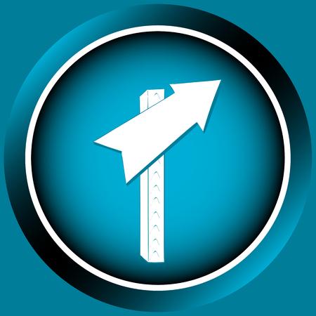 Pictogram op de knop van de blauwe kleur met verkeersborden pijlen