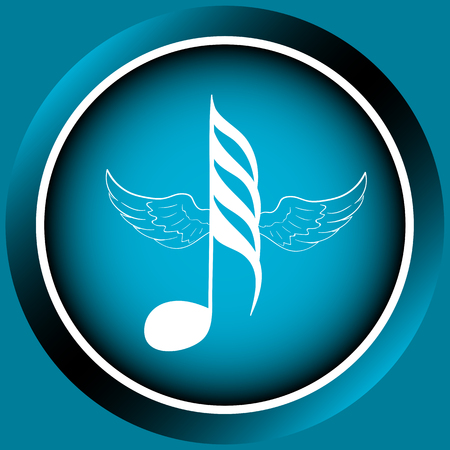sounding: Icon the button with a winged white music note Illustration