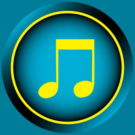 positive note: Icon the button with yellow signs of music notes