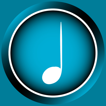 positive note: Icon the button with white signs of music notes Illustration