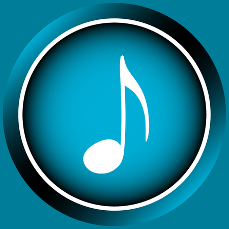 sounding: Icon the button with white signs of music notes Illustration