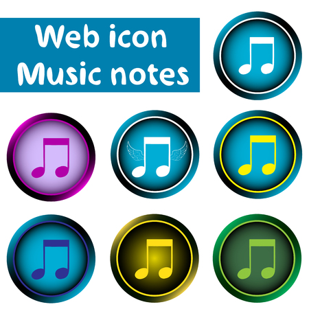 sounding: Clipart with classical music notes of different flowers Illustration