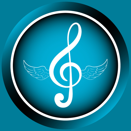 winged: Icon the button with a winged symbol of a treble clef