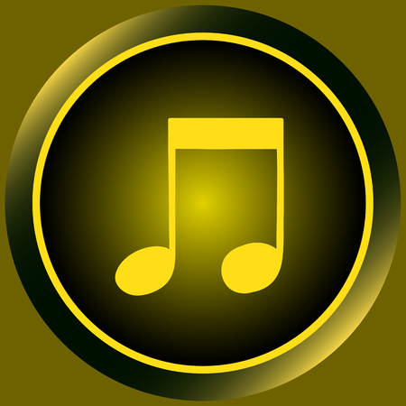 sounding: Icon the button with yellow signs of music notes