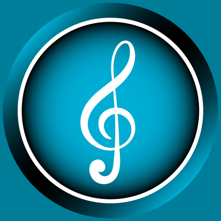 sounding: Icon the button with a white symbol of a treble clef Illustration