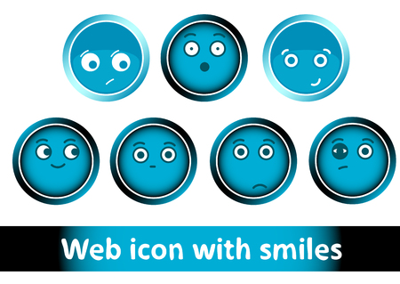 bruise: Clipart with icons buttons of blue color with smiles Illustration