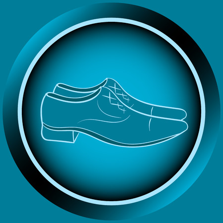 blue shoes: Web icon button with blue mens shoes