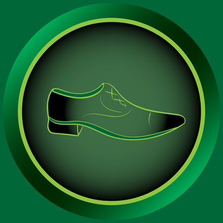 darkly: Web icon button with green mens shoes