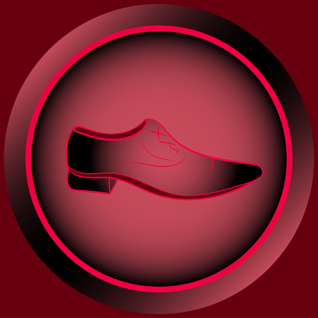 darkly: Web icon button with red mens shoes Illustration