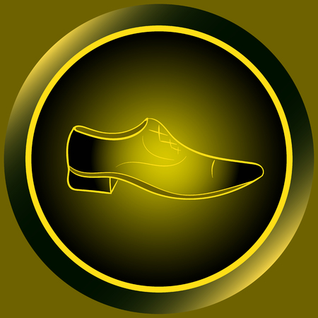 darkly: Web icon button with yellow mens shoes