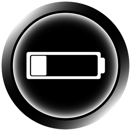 settled: Black icon the button with the discharged empty battery