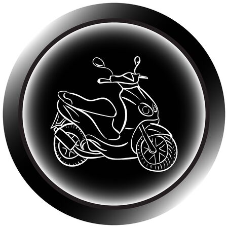 round button: Icon with a color contour of the classical scooter