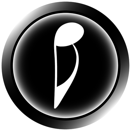 sounding: Icon button with black signs of music notes