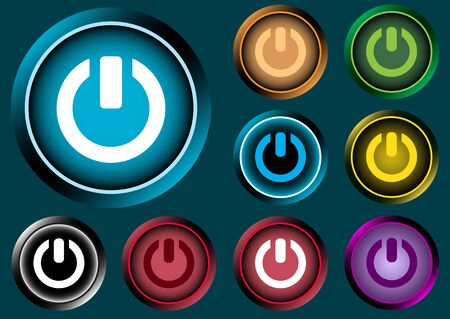 switching: Clipart Icon of different color with a switching off sign