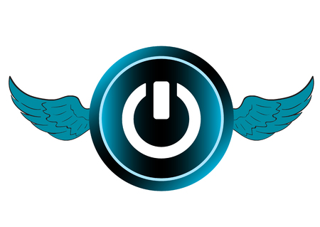 switching: The blue winged button an icon with a switching off symbol Illustration