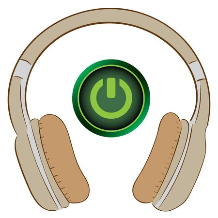 inclusion: Earphones with an icon the inclusion button Illustration