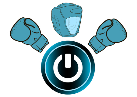 inclusion: The boxer with the inclusion button in the form of an icon Illustration