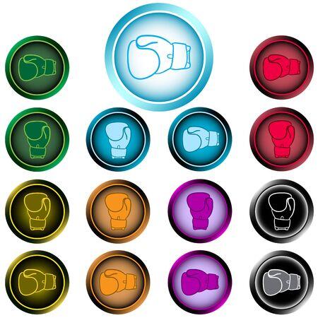 Clipart con iconos de color de los guantes de boxeo