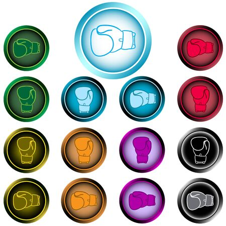 Clipart with color icons of boxing gloves