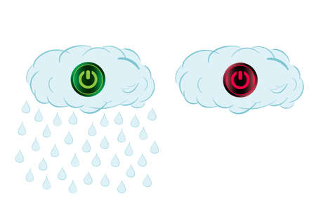 switching: Rain cloud and icon of switching off