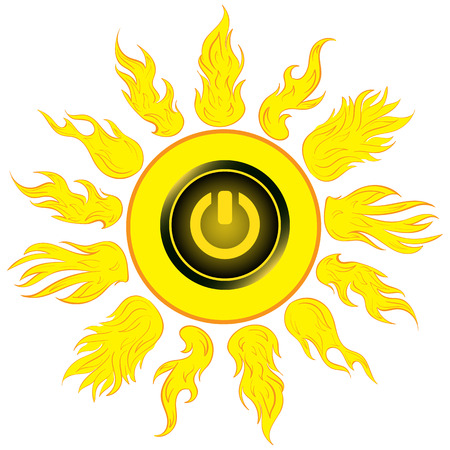 scorching: Illustration the sun with the switching off inclusion button