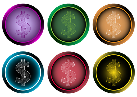 dollar symbol: Icon with a dollar symbol in the round button