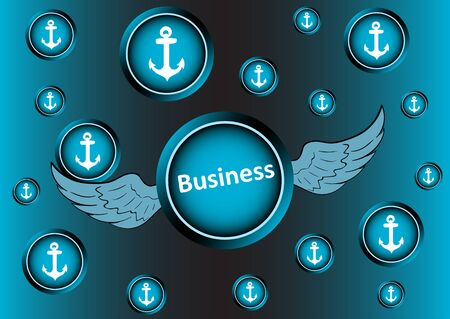 winged: The winged icon with an inscription business breaks through anchors