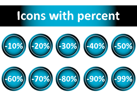 secondhand trade: Clipart with icons with percent of discounts