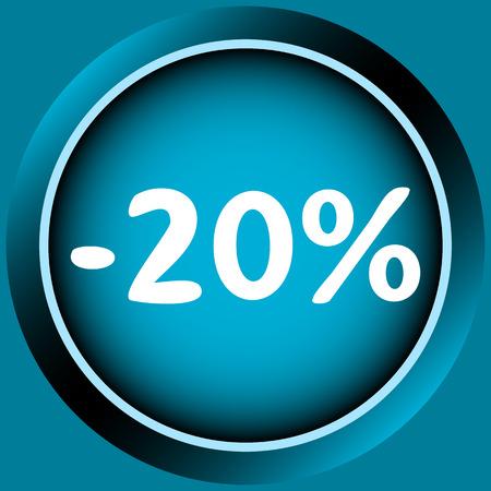 Icône de couleur bleue à un pour cent d'escompte Banque d'images - 54822720
