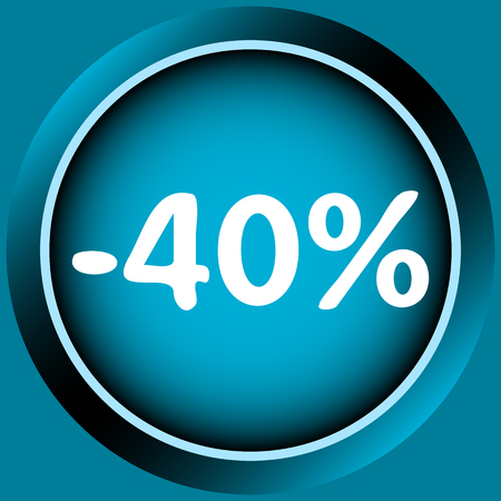 secondhand trade: Icon of blue color at a discount percent Illustration