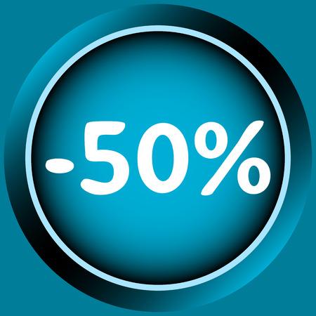 Icône de couleur bleue à un pour cent d'escompte Banque d'images - 54822716