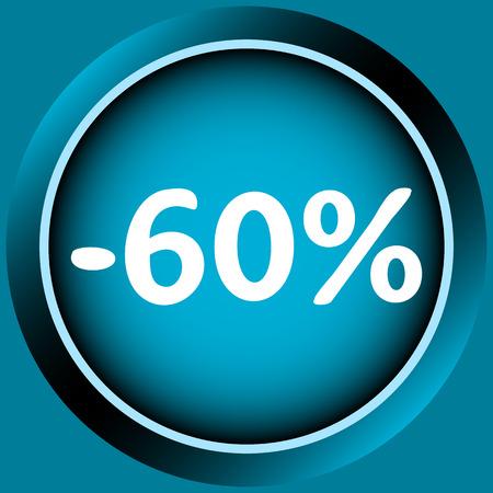 Icône de couleur bleue à un pour cent d'escompte Banque d'images - 54822723