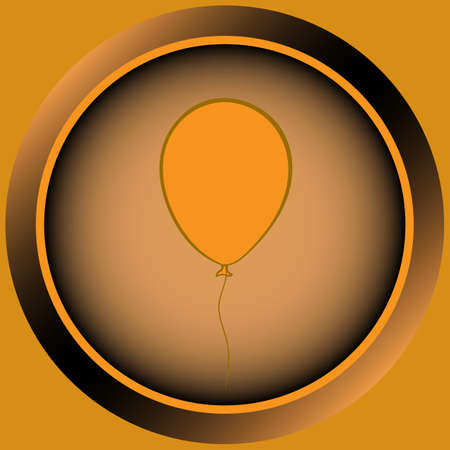 contours: Web icon the button of orange color from balloon contours