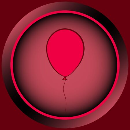 contours: Web icon the button of red color from balloon contours