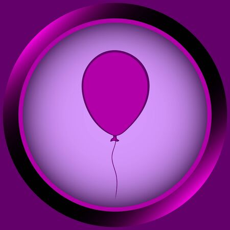 contours: Web icon the button of violet color from balloon contours