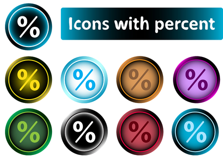 Clipart with color icons of percent sign Illustration