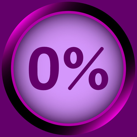 Icon with zero and a symbol of percent Illustration