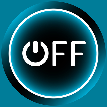 switching: Icon graphic sign of switching off and inscription Stock Photo