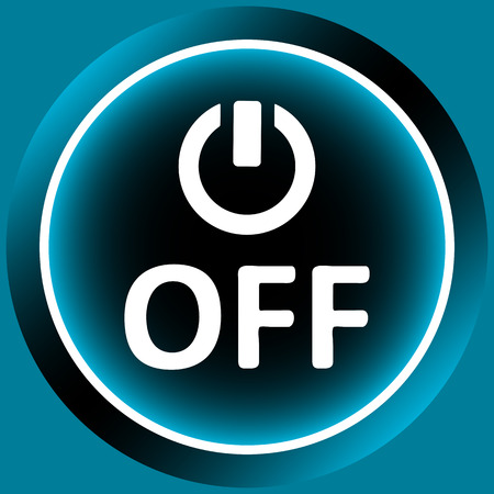 shut off: Icon graphic sign of switching off and inscription Illustration