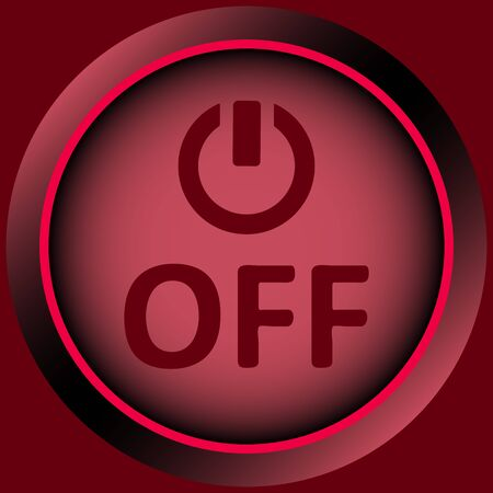 creatively: Icon graphic sign of switching off and inscription Stock Photo