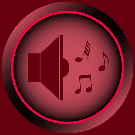loudness: Icon with a loudspeaker sign with notes