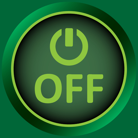 switching: Icon graphic sign of switching off and inscription Illustration