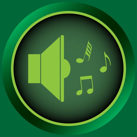 sounding: Icon with a loudspeaker sign with notes