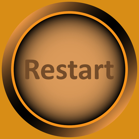 restart: Icon the button with the word restart
