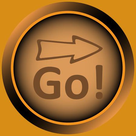 go button: Icon the button with the go sigh