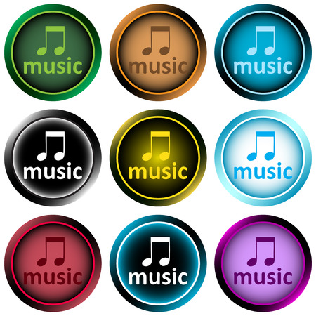 sounding: Icon the button with a music note
