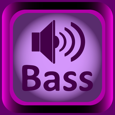positive note: Icon with an inscription bass and loudspeaker Illustration