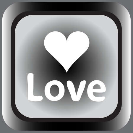 creatively: Square icon with a heart symbol and love