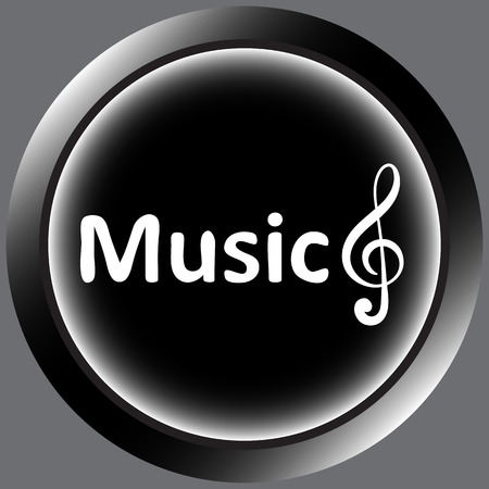 positive note: Icon with an inscription music and a treble clef