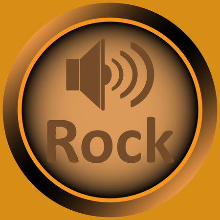 positive note: Icon the button with musical style and the loudspeaker Illustration